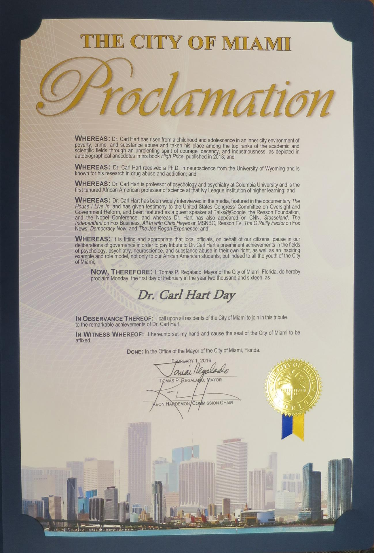 City of Miami Proclamation